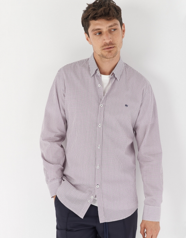 Blue and burgundy diamond print sport shirt