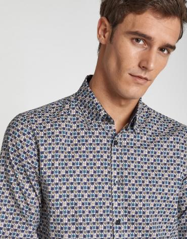 Camisa sport estampada flores caqui/azul