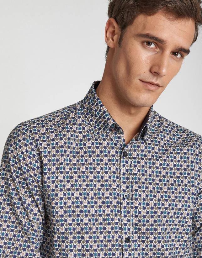 Blue and khaki geometric print sport shirt