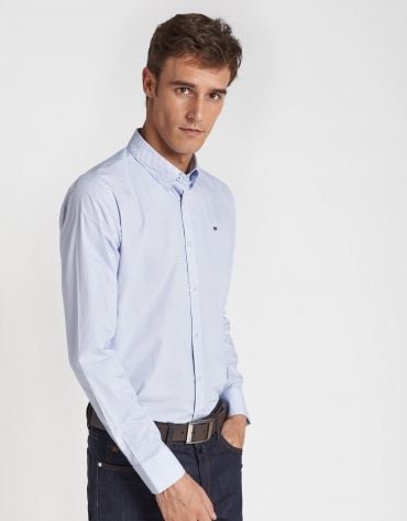 Light blue micro print sport shirt