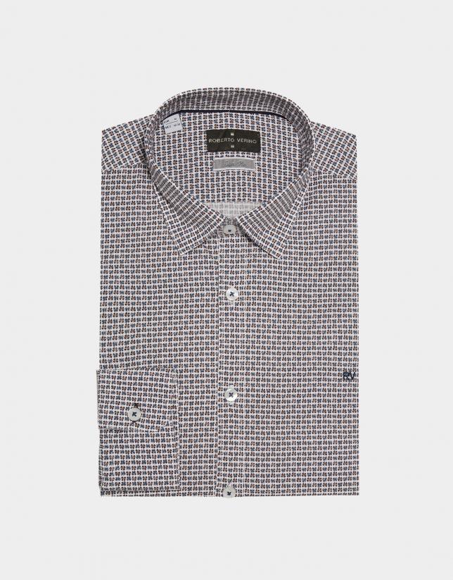 Camisa sport estampada tréboles tostado/azul