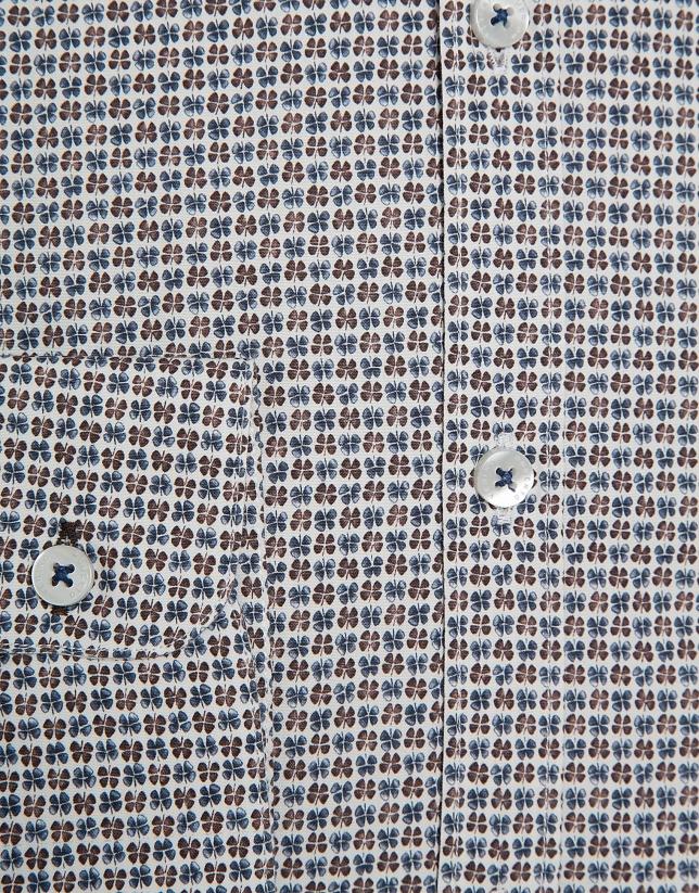 Blue and tan clover print sport shirt