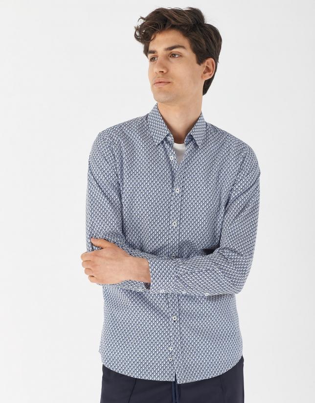 Camisa sport estampada geométrico celeste/azulón