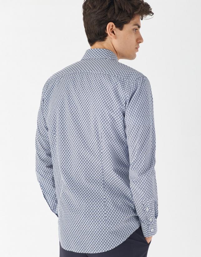 Light blue and dark blue geometric print sport shirt