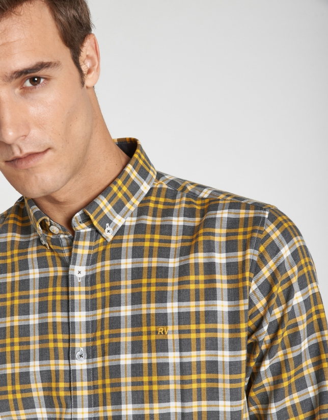 Gray and yellow checked sport shirt