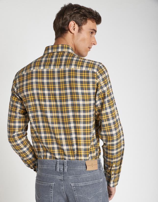 Camisa sport cuadros gris/amarillo