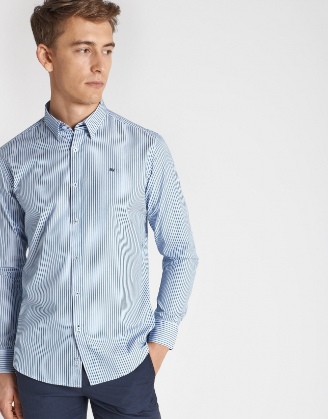 Camisa sport doble faz rayas verde/marino
