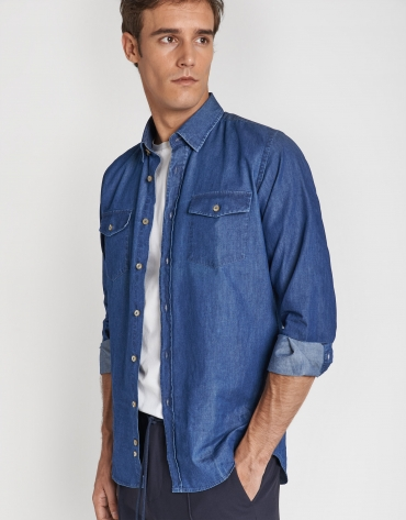 Blue denim shirt with pockets