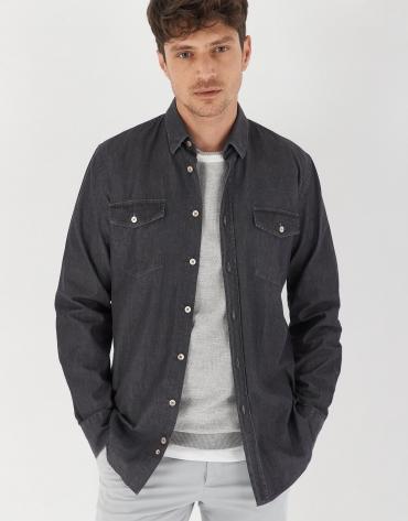 Camisa vaquera gris con bolsillos