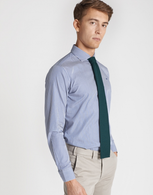 Blue striped sport regular fit shirt