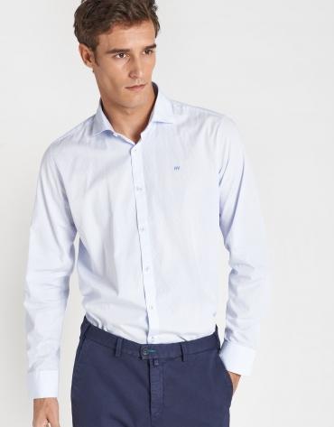 Camisa sport regular algodón azul claro