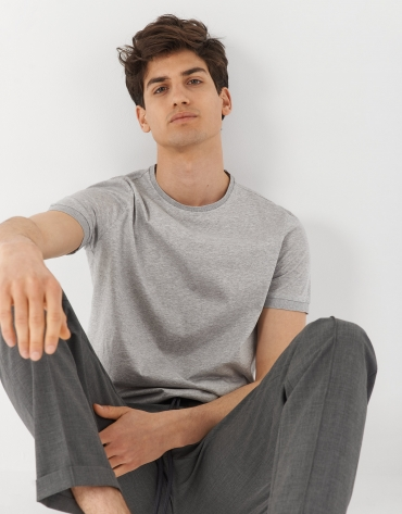 Gray melange mercerised cotton t-shirt