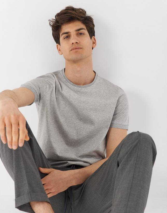 Camiseta algodón mercerizado gris melange