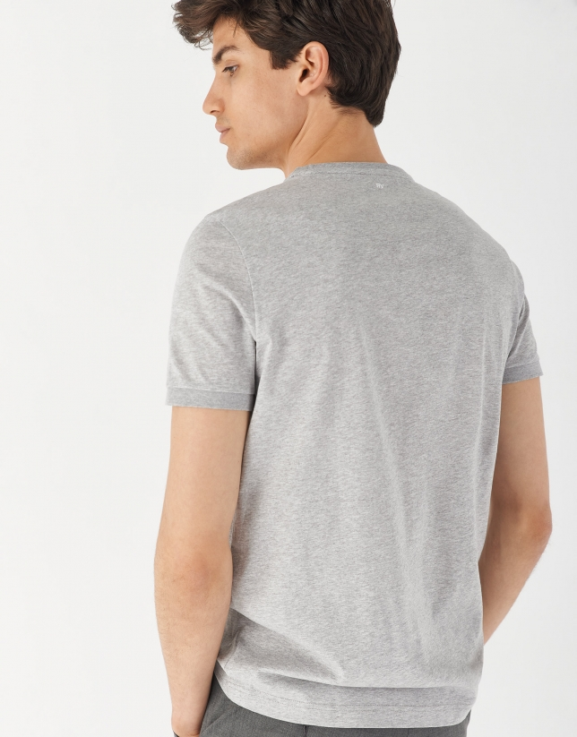 Gray melange mercerised cotton top