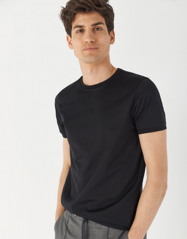 Black mercerised cotton top