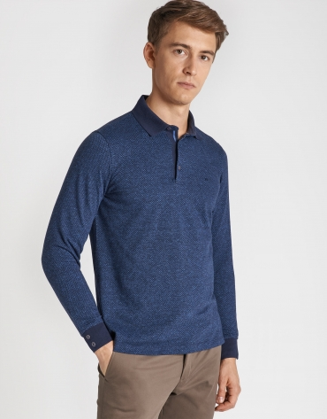 Navy blue and deep blue jacquard polo shirt with long sleeves