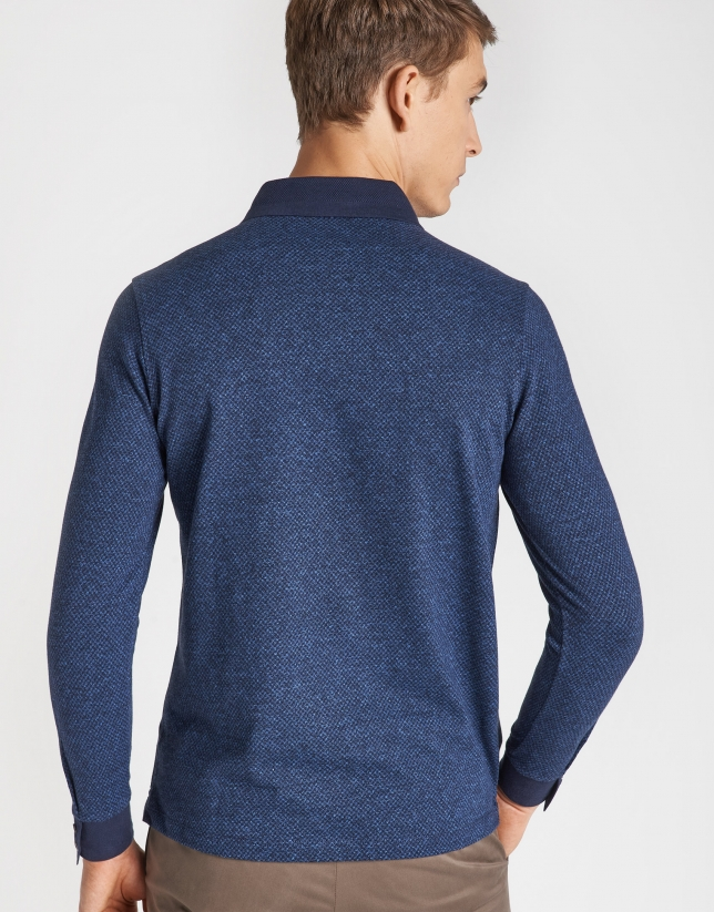 Polo manga larga jacquard marino/azulón