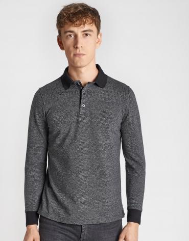 Black and gray jacquard polo shirt with long sleeves