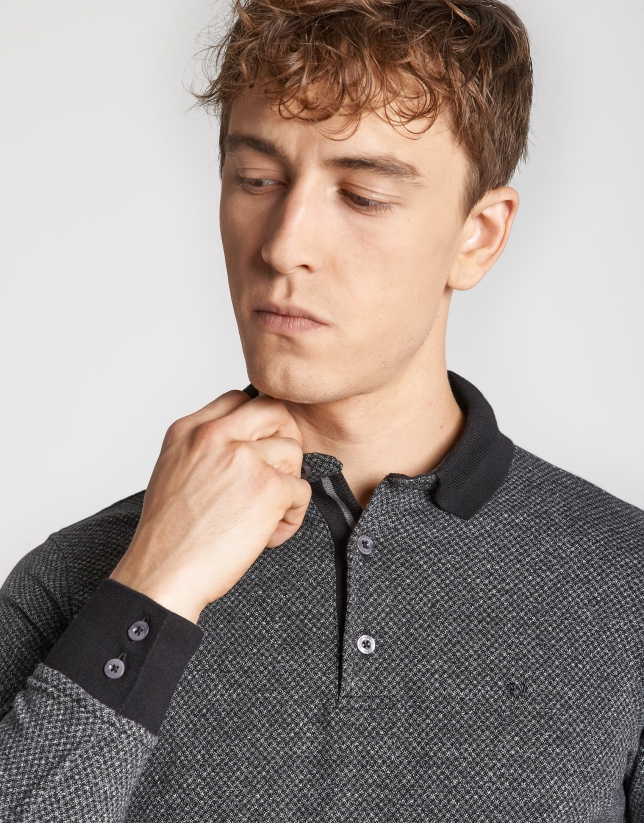 Black and gray jacquard polo shirt with long sleeves