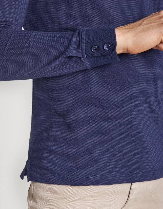 Navy blue and indigo diamond print jacquard polo shirt with long sleeves