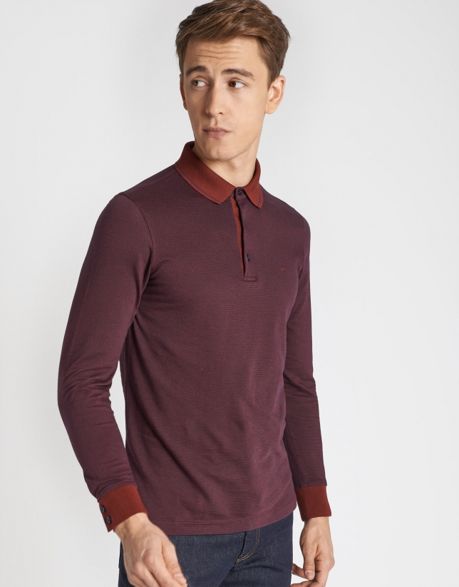 Burgundy and navy blue diamond print jacquard polo shirt with long sleeves