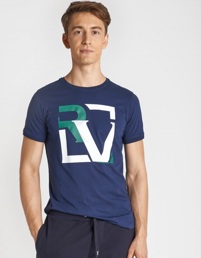 Green and white top with marine serigraphy and short sleeves.