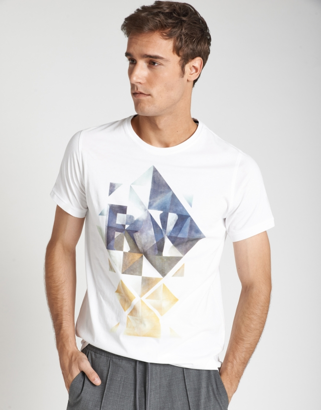 White geometric serigraph top with short sleeves