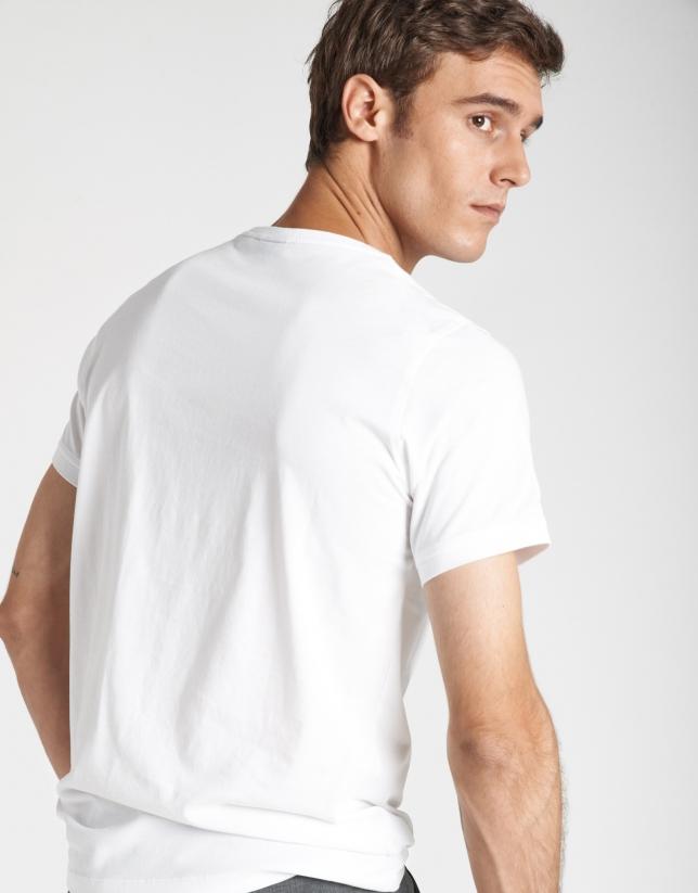 Camiseta manga corta blanca serigrafía geométrica