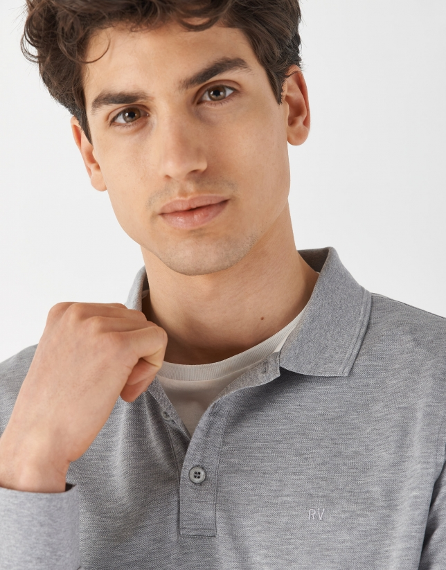 Gray melange mercerised pique polo shirt with long sleeves