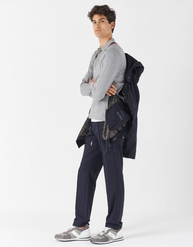 Gray melange mercerised pique polo shirt with long sleeves