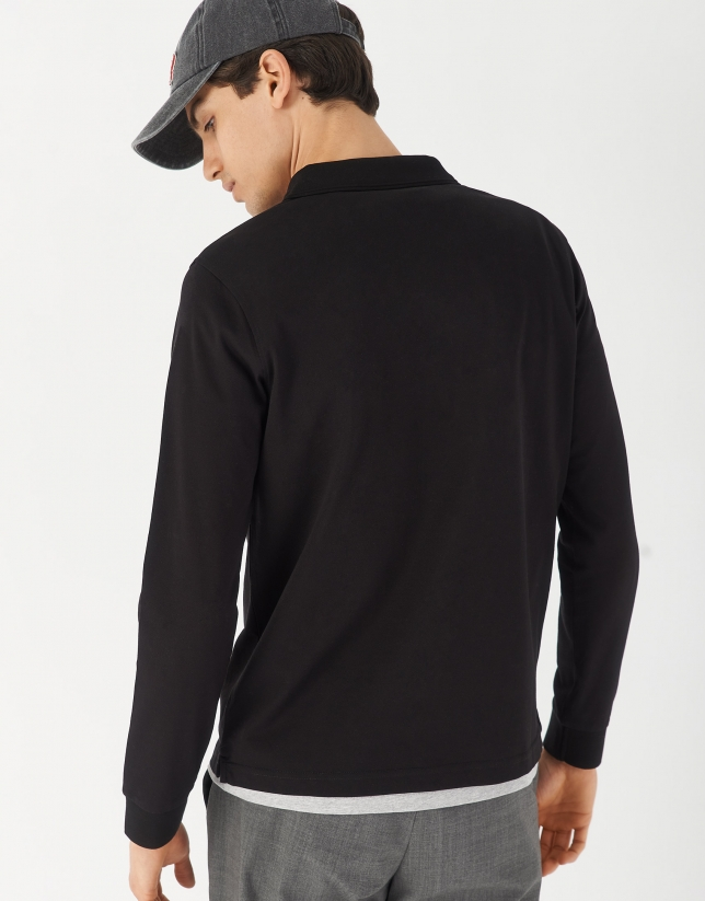 Black mercerised pique polo shirt with long sleeves