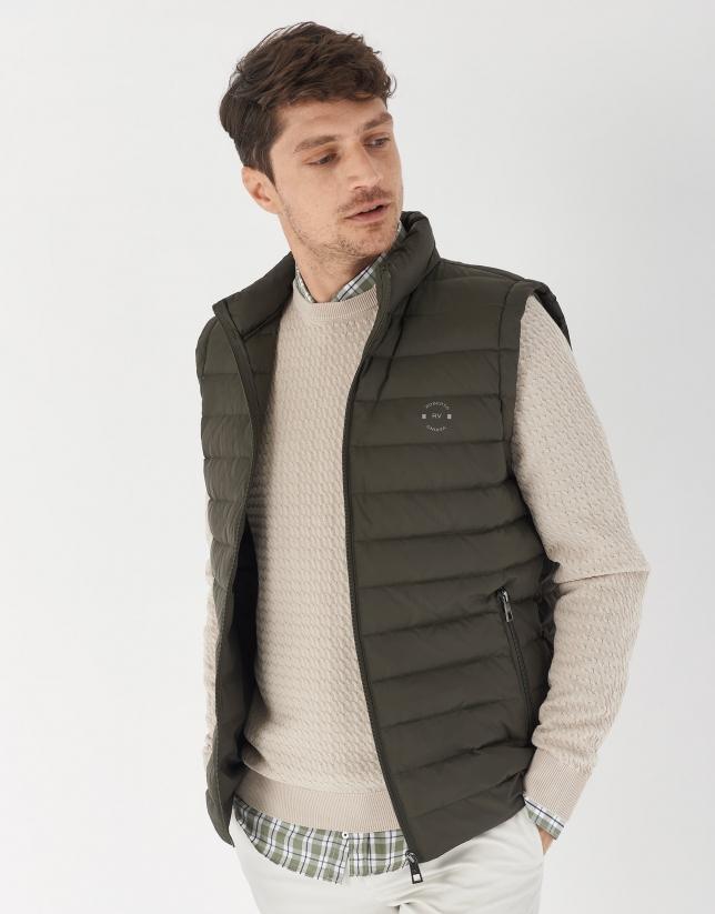 Khaki quilted vest