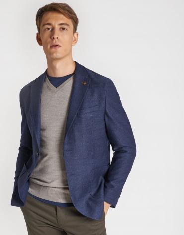 Indigo blue wool knit blazer