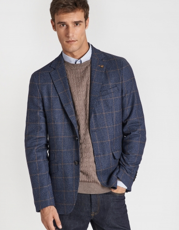 Blue and tan checked blazer