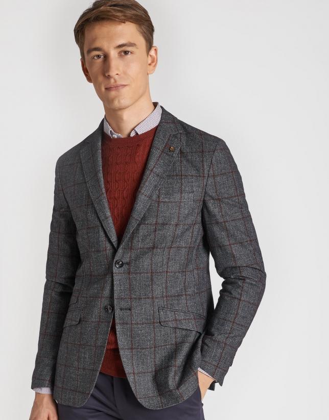 Gray and burgundy checked blazer