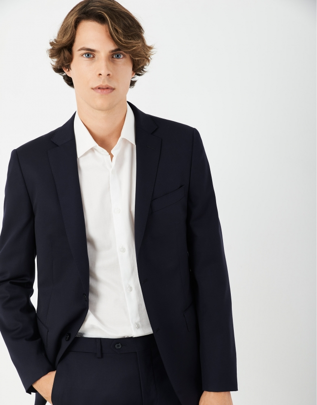 Navy blue twill slim fit suit