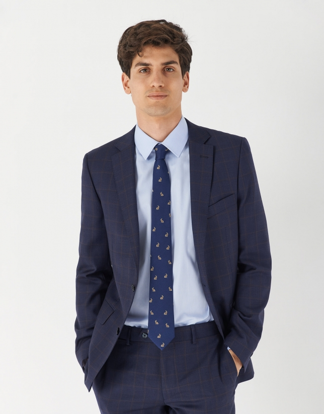 Blue micro print half-canvas suit