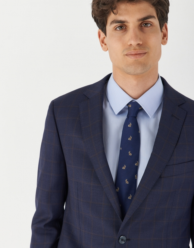 Blue checked half-canvas slim fit suit