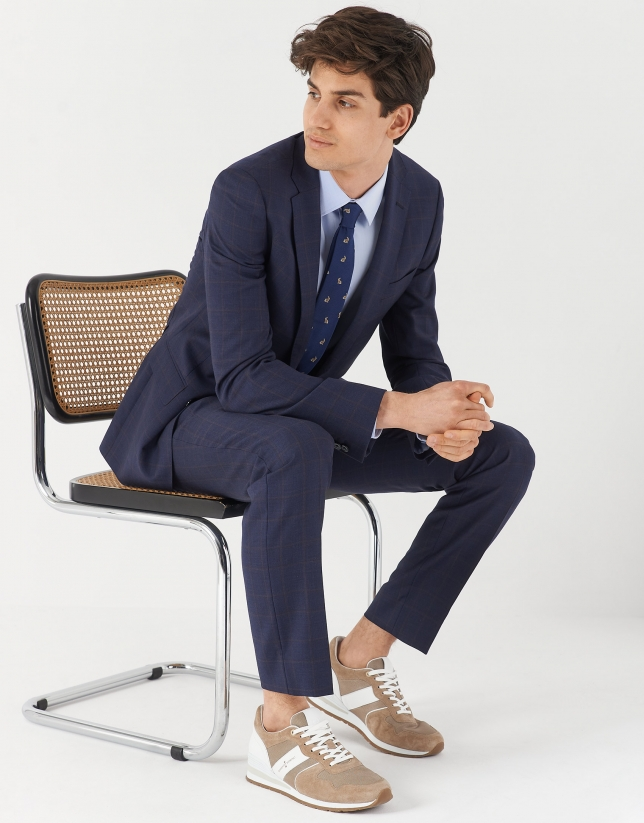 Blue checked half-canvas slim fit suit