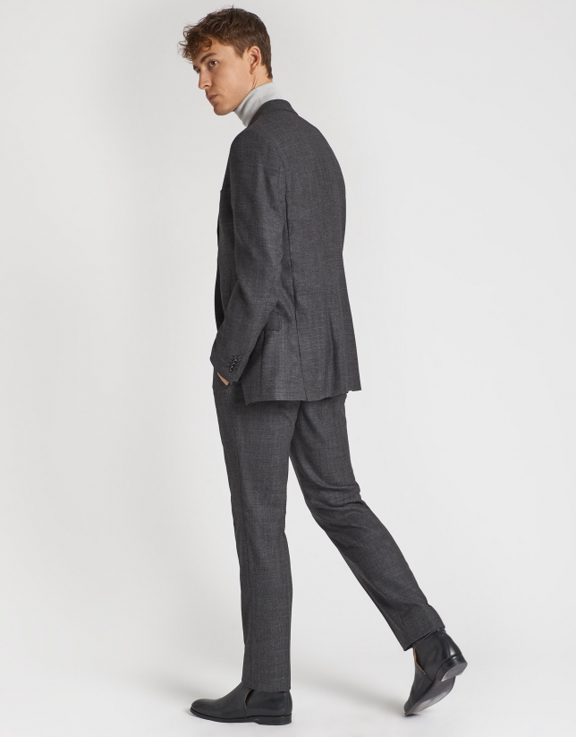 Gray micro print half-canvas regular fit suit