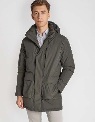 Khaki long parka with detachable hood