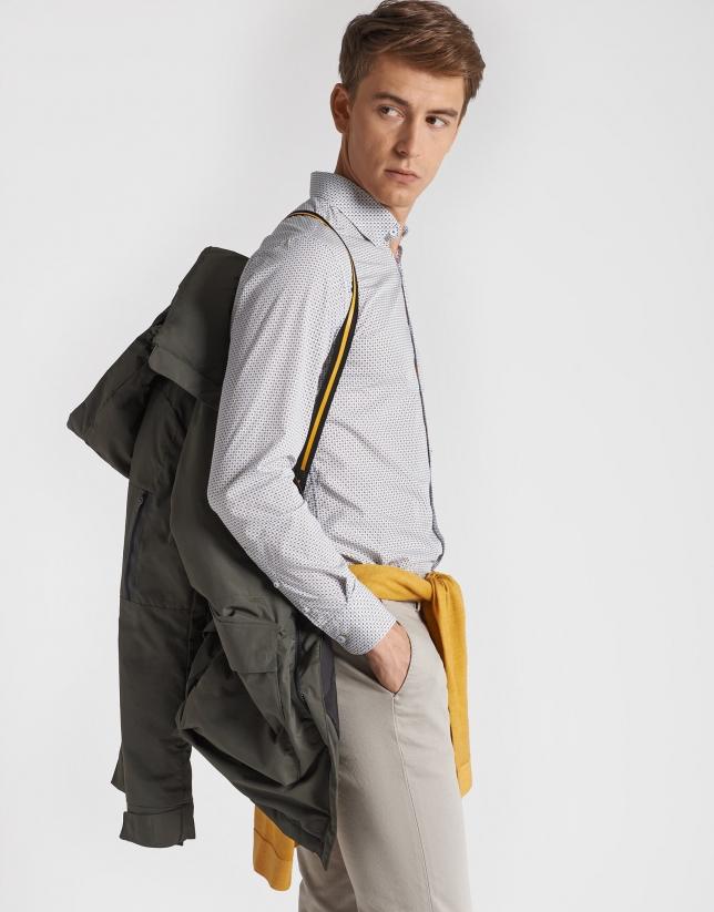 Khaki long parka with detachable hood