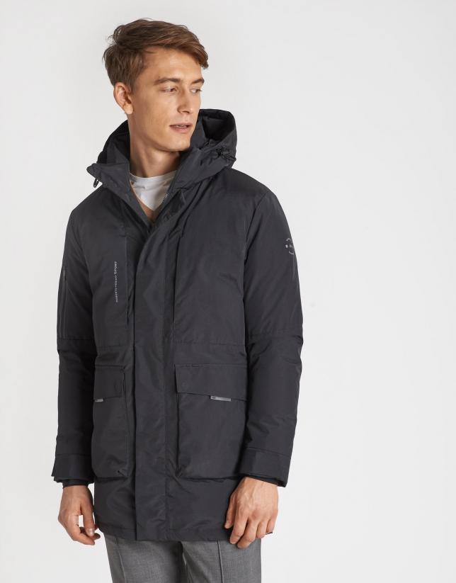 Black long parka with detachable hood