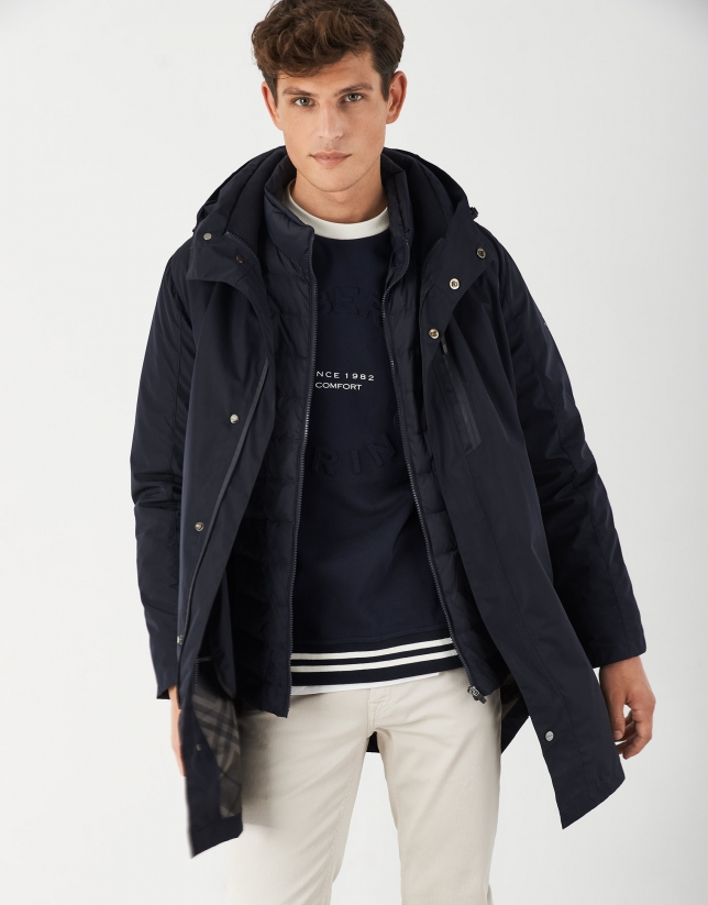 Navy blue short raincoat and windbreaker