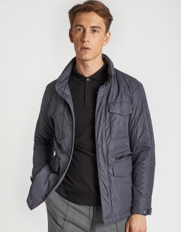 Coal gray parka with four pockets