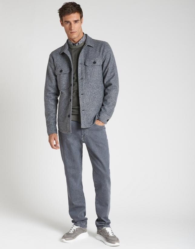 Melange gray, double-faced shacket