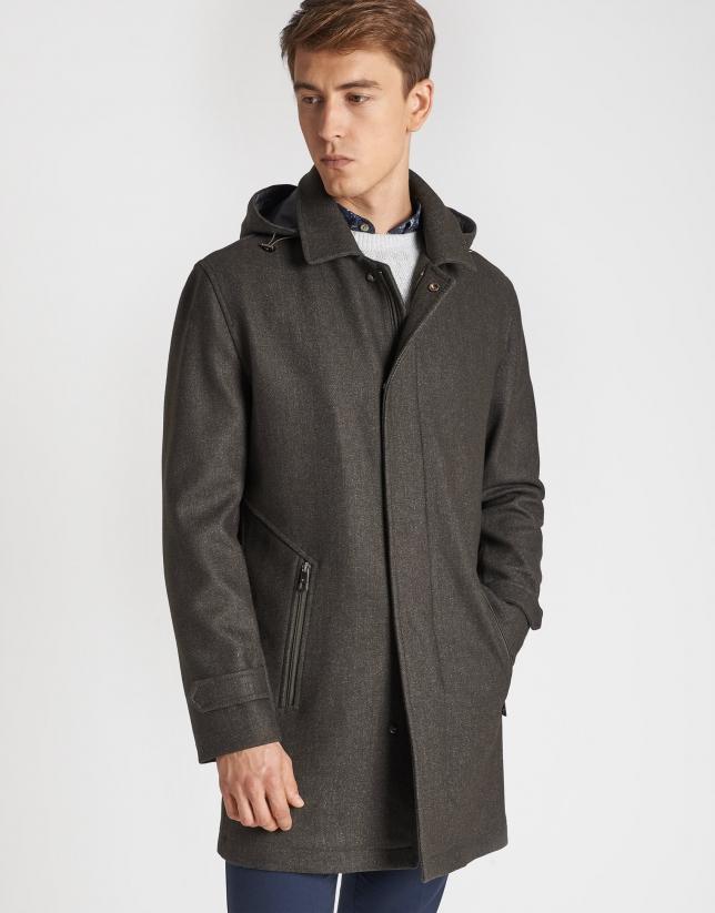 Khaki fabric coat with vest
