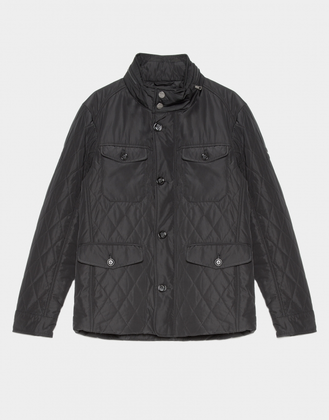 Black quilted husky parka