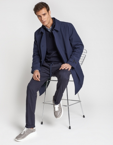 Navy blue raincoat with shirt collar