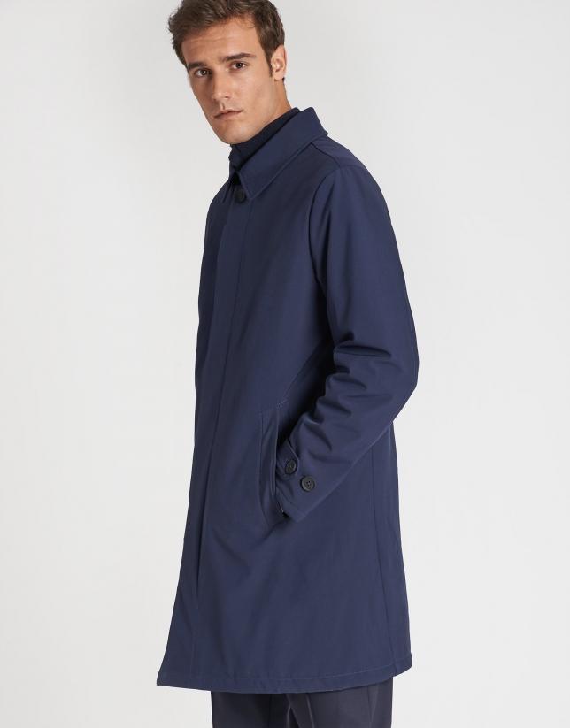 Navy blue raincoat with shirt collar